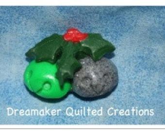 Handmade Jingle Bells and Holly FIMO Clay Pin