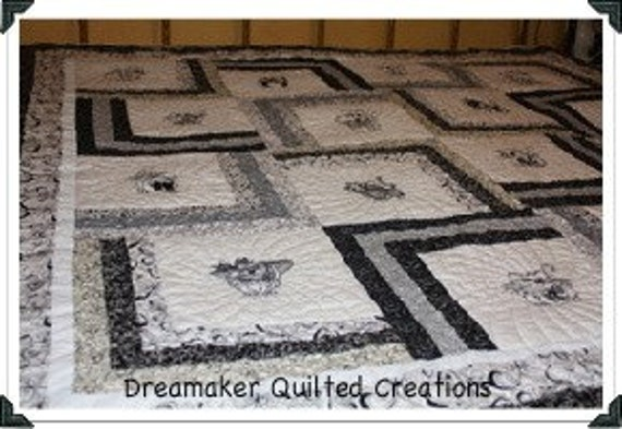 Cats Rule Dogs Drool Blackwork Quilt