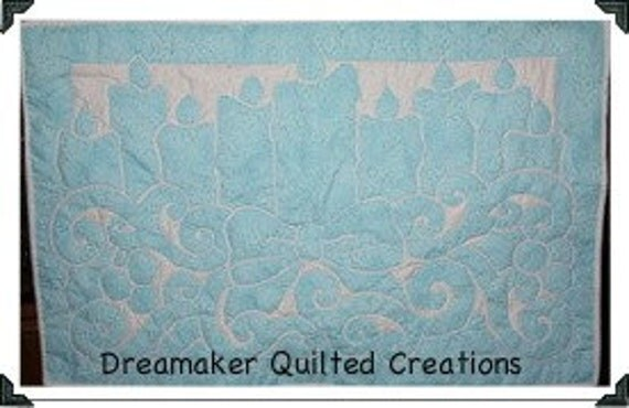 Frosted Blue Holiday Candles Quilted Wall Hanging