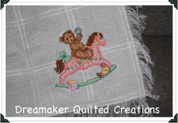 Girl Bear and Rocking Horse Counted Cross Stitch Baby Blanket