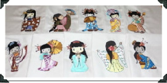 Beautiful Geisha Dolls Machine Embroidered Quilt Blocks