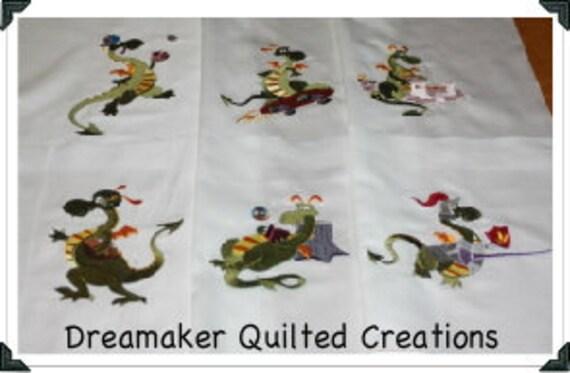 Sports Dragons Machine Embroidered Quilt Blocks Set