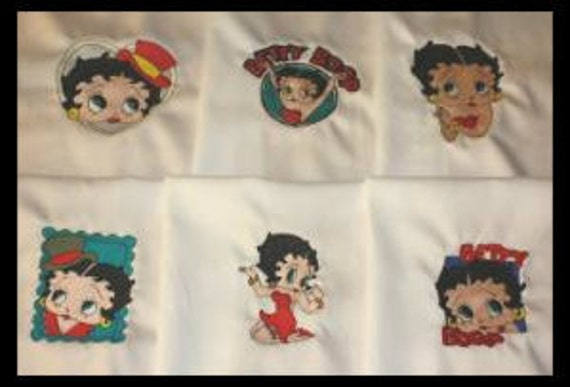 Betty Boop Machine Embroidered Quilt Blocks Set
