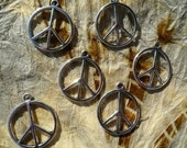 Tibetan Silver Peace Sign Charms - Lot of 6