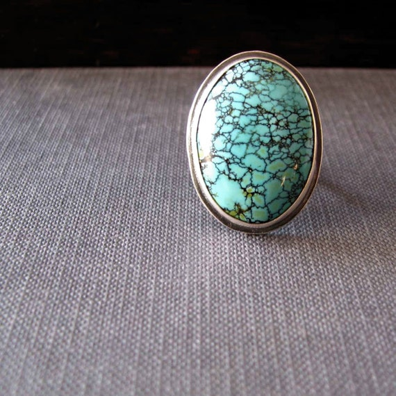 Turquoise silver ring comfortable adjustable gorgeous blue green big turquoise set in sterling silver