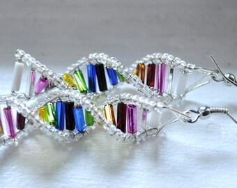 Double Rainbow Genes - DNA Earrings