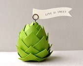 Paper artichoke Wedding/shower decorations and favors. Pine cone ornament, pinecone. Set of 4