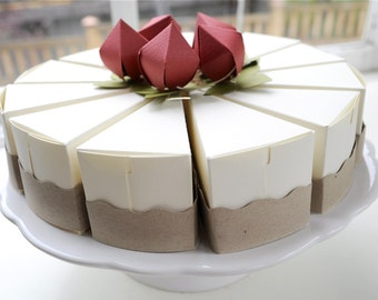 PAPER Strawberry cheesecake favor boxes (whole cake is 12 slices)