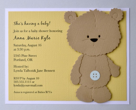 Reserved listing Brown teddy bear birthday invitation brown – Teddy Bear Birthday Invitation