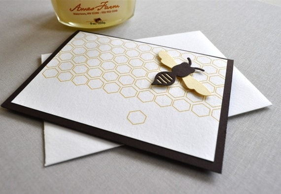It's the May Bee blank greeting card. Bee, honey, beehive, sweet as honey folded card.