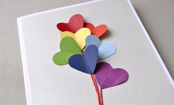 Last 1.  Love is in the air, rainbow heart balloon, blank card.  Valentines, anniversary, love, birthday.
