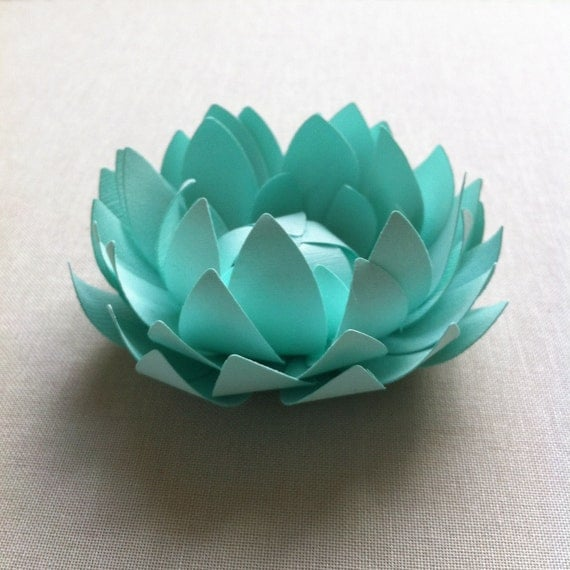 Items similar to mint paper lotus home decor office for How to make a lotus with paper