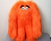Original Plush ORANGE Grumbelly Monster , Medium 10 Inch size