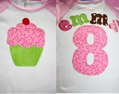 Girl's Birthday Shirt Personalized Cupcake number and name Birthday Girl Shirt Tee or Onesie or baby toddler or boy