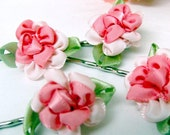 Bobby Pins Hair Accessories, Pink Rose Blossom - Set of 4 Bobbies