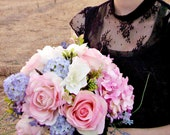 Silk Bridal Bouquet, Pink Roses and Spring Mix