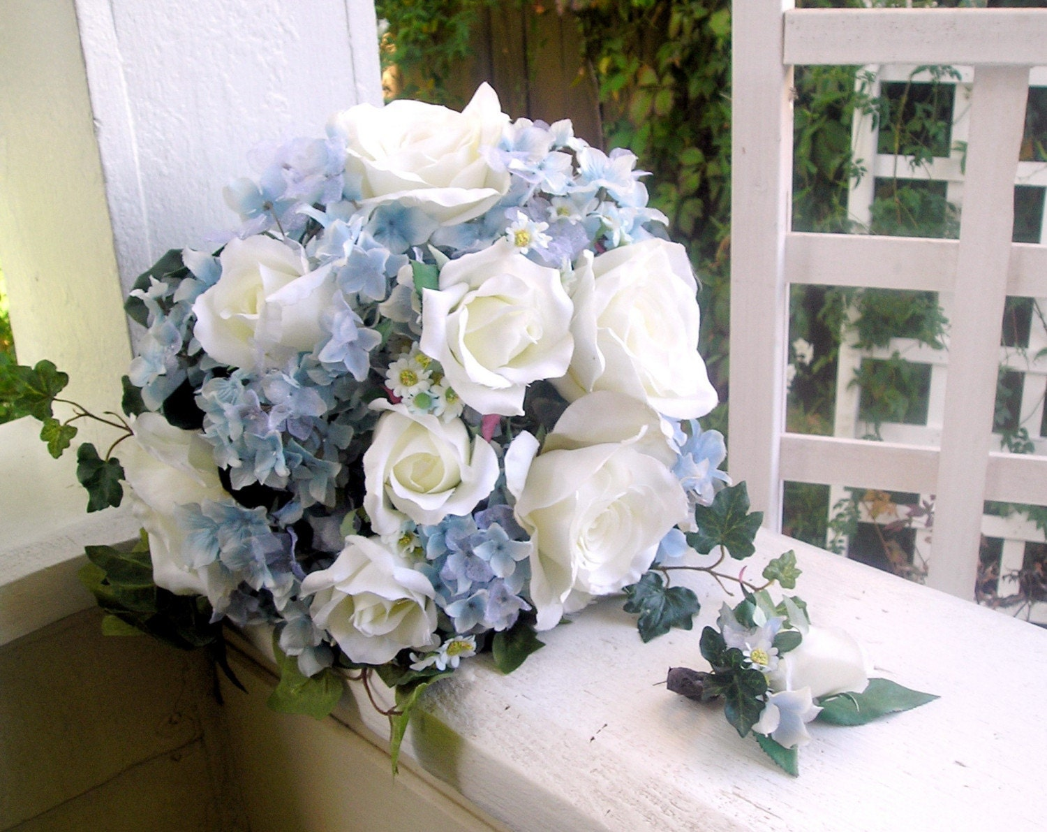 silk bridal bouquet blue hydrangeas white roses handtied. Black Bedroom Furniture Sets. Home Design Ideas