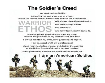 SOLDIER CREED Print - Military, Army, Navy, Marines, Air Force, Coast Guard, National Guard, Paper Goods