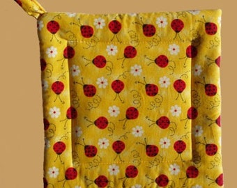 Lady Bug Yellow Square Pot Holder