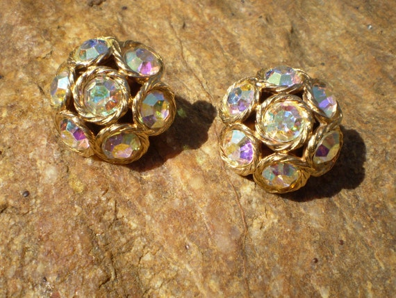 Vintage gold tone and aurora borealis rhinestone clip on earrings