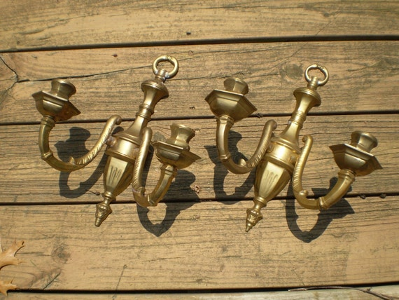 Vintage Colonial Brass Candle Wall Sconces Bogo sale