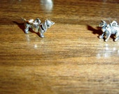 2 Vintage Silver Charms  Dog and Cat