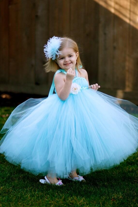 Custom Listing for Renee - Aqua Lovely Tutu Dress - for Weddings, Pageants, Birthdays and more