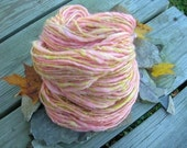 "Handspun Art Yarn ""Glenda the Good Witch"" with Pink Jump Rings, Pink Yellow White Yarn"