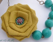 Mustard and Teal Rose Necklace/ Statement Necklace