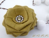 SALE Xtra 30% Off  Handmade Linen Olive Rose, White 16mm Semi Precious Stones, and Vintage Swarovski Crystal