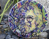 """Hand Painted Fused Glass """"Jerry Garcia"""" Plate"""