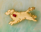 B445 Golden Retriever Dog  Pin  /  Pendant with a Red Rose