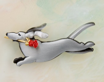 B410 Dachshund Pewter Pin / Pendant with a Red Rose