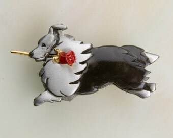 B427 Sheltie Pewter Pin / Pendant with a Red Rose