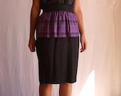 80's black and purple peplum skirt