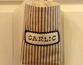 SALE - Country Farmhouse Blue Stripe Ticking Fabric Bag or Basket for Garlic