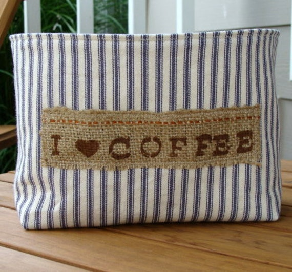 Blue Stripe Ticking Fabric Coffee Basket with a Stenciled Burlap Label