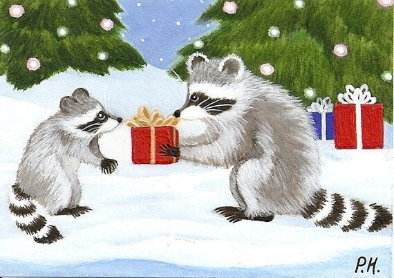 ACEO, PRINT, RACCOON, CHRISTMAS TREE, GIFT