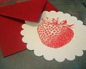 Strawberry Flat Note Cards Set of Two Hand Screenprinted Gocco