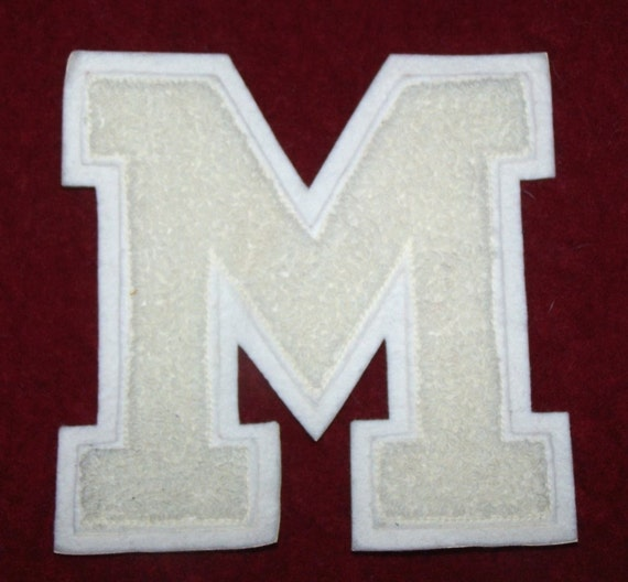 varsity sweater jacket letter m in creamy white With letter m varsity jacket