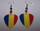 Romania 2012 Olympic Games - Support Your Country Guitar Pick Earrings