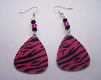 Pink Tiger Guitar Pick Earrings