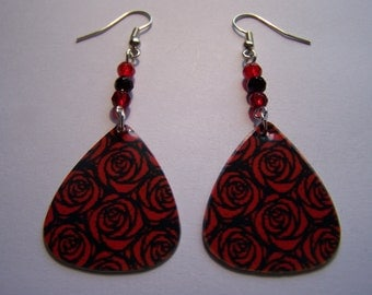 Red Red Roses - Guitar Pick Earrings