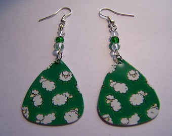 Sheep - Guitar Pick Earrings (LAST ONE)