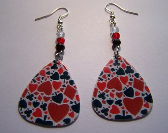 Playing Cards Full House - Guitar Pick Earrings