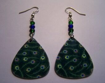 Peacock Feathers (Dark Green) - Guitar Pick Earrings (LAST ONE)