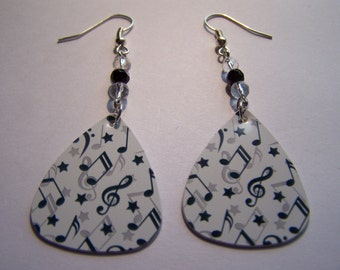 Large Music Notes - Guitar Pick Earrings