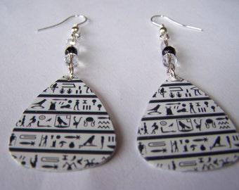 Egyptian Hieroglyph - Guitar Pick Earrings (LAST ONE)