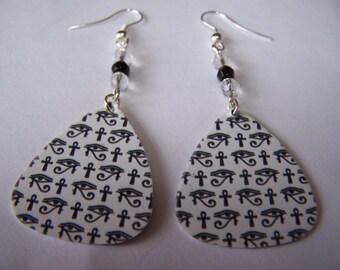 Egyptian Eye of Horus  - Guitar Pick Earrings