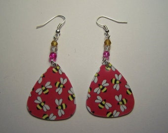 Pink Buzzy Bees  - Guitar Pick Earrings